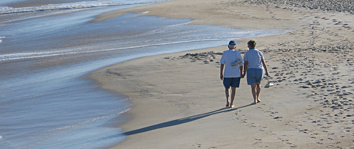 older people at the beach