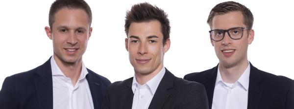 Marcos Miramontes, Leiter Finanzen, Lukas Brülhart, Versicherungsexperte, und Giles Magnin, Geschäftsführer (v.l.n.r.).